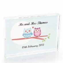 Owl Couple Crystal - Personalised Wedding or Anniversary Keepsake Gift